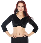 3/4 Sleeve Velvet Tribal Choli Top - BLACK
