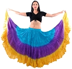 25 Yard Tribal Gypsy Belly Dance Skirt - TEAL / PURPLE / GOLD