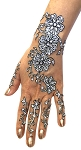 6-Piece Glitter and Beads Henna Temporary Tattoo Set - SILVER