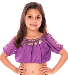 Kids Size Gypsy Bollywood Belly Dance Top with Coins - PURPLE