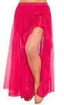 Chiffon Ruffle Belly Dance Skirt with Slit - DARK PINK