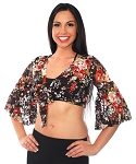 Lace Bell Sleeve Choli Top - BLACK FLORAL