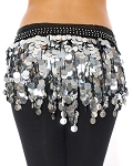 Belly Dance & Saidi Hipscarf with Paillette Fringe & Coins - BLACK / SILVER