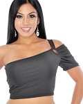 One-Shoulder Sexy Stretchy  Half Top - BLACK