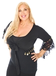 Gypsy Top with Lace Butterfly Sleeves & Coins - BLACK