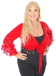 Tribal Gypsy Choli Top with Lace Butterfly Sleeves & Coins - RED