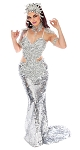 Deluxe Frozen Ice Queen Mermaid Costume - SILVER