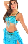 Cabaret Belly Dance Bra & Belt (bedlah) with Fringe - TURQUOISE / GOLD