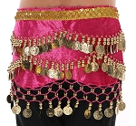 Kids Size Velvet Hipscarf with Coins, Beads & Sequins - PINK / GOLD