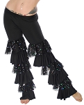 Tribal Fusion Multi-Layered Sparkle Ruffle Pants - BLACK