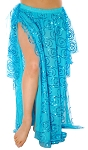 Sequin Embroidered Belly Dance Costume 2-Layer Skirt with Side Flares - BLUE TURQUOISE