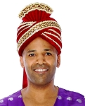 Prince of Persia Royal Velvet Turban - BURGUNDY / GOLD
