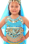 Little Girls Belly Dance Bollywood Costume Halter Top with Paillettes & Bells - TURQUOISE