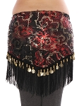 Belly Dance Sequin Hip Scarf with Fringe & Coins - BLACK / RED / GOLD