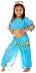 6-Piece Girls/Kids Arabian Princess Genie Costume - JASMINE BLUE