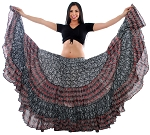 25 Yard Indian Tribal Patterned Paisley Skirt - BLACK / RED