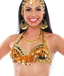 LIMITED EDITION Hand-made Vintage Style Belly Dance Costume Bra Top - BLACK / GOLD