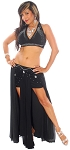 2-Piece Sparkle Swirls Egyptian Belly Dance Costume - BLACK