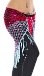 Shawl Scarf - Net with Square Sequins - FUCHSIA / POWDER BLUE