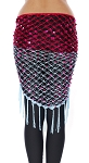 Net Shawl Scarf with Square Sequins & Fringe - FUCHSIA / POWDER BLUE