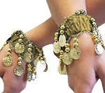 Chiffon Stretch Bracelets with Beads & Coins (PAIR): GOLDEN / GOLD