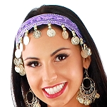 Sequin Belly Dance Costume Headband with Coins - LILAC PURPLE / SILVER