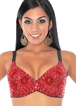 36 C/D Sequin Beaded Costume Bra on Black Base - RED