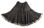 10 Yard Sari Fabric Belly Dance Skirt with Gold Trim - BLACK