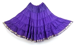 10 Yard Sari Fabric Belly Dance Skirt with Gold Trim - PURPLE