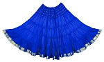 10 Yard Sari Fabric Belly Dance Skirt with Gold Trim - ROYAL BLUE