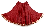 10 Yard Sari Fabric Belly Dance Skirt with Gold Trim - BURGUNDY