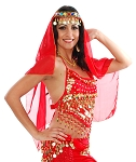Arabian Nights Bollywood Head Veil with Gems & Gold Coins - RED