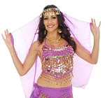 Arabian Nights Bollywood Head Veil with Gems & Gold Coins - PURPLE