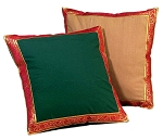 Taj Mahal Imported Cotton Pillow or Cushion Cover with Ornate Silk Border