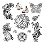 Black Mehndi Henna Assorted Temporary Tattoos - Om Peacock