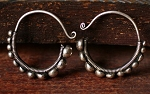Handmade Miao Silver Tribal Belly Dance Jewelry Small Spirals Hoop Earring Hangers