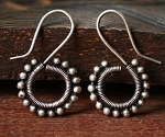 Handmade Miao Silver Wire-Wrapped Tribal Gauge Earrings