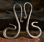 Handmade Miao Silver Tribal Striking Snakes Gauge Earring Hangers