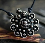Handmade Miao Silver Foral Necklace - FLORAL MANDALA