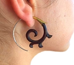 Hand-carved Wood, Brass, & Silver Spiral Earrings by Coco Loco