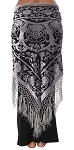 Velvet Medallion Shawl Scarf with Fringe - SILVER on BLACK