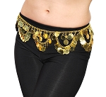 Lightweight Metal Coin Belly Dance Belt with Swags - GOLD