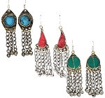 Afghani Kuchi Tribal Dangle Earrings with Stone Inlays Bells - ASSORTED