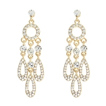 Divine Deco Rhinestone Teardrop Earrings - GOLD