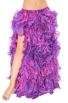 Multi-Layer Egyptian Style Belly Dance Costume Ruffle Skirt - PURPLE AB