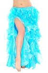 Full Multi-Layer Belly Dance Ruffle Skirt - TURQUOISE