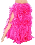 Multi-Layer Egyptian Style Belly Dance Costume Ruffle Skirt - HOT PINK