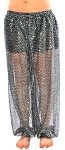 Shiny Sequin Dot Belly Dancer Genie Harem Pants - BLACK / SILVER
