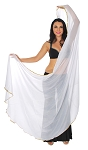 3 Yard Semi-circle Chiffon Veil with Gold Sequin Trim - WHITE