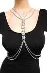 Bold Statement Body Chain with Large Crystals - SILVER